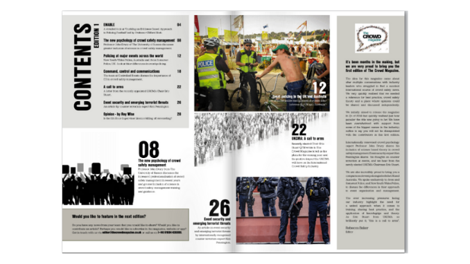 First Edition of the Crowd Magazine, contents page.
